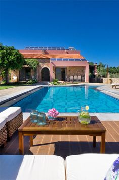 """Villa Litsarda is a luxury, """"green"""" 4-bedroom villa with a private swimming pool, in the tranquil village of Litsarda. #crete #greece #chania #summer #vacations #holiday #travel #sea #sun #sand #nature #landscape #island #TheHotelgr"""