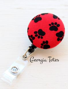 Paw Print Badge Reel ID Holder Dog Badge Holder by GATotes on Etsy
