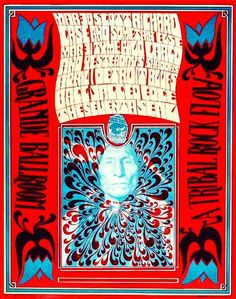 The Scott Richard Case, Somethin' Else, Thyme, Wild Cargo and several other bands on the same bill at the legendary Grande Ballroom in Detroit 1967. Artist: David Carlin.