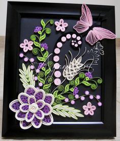 Ayani art: Purple, pink and green quilling