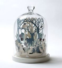 'Winter Wood', miniature Paper-cut art sculpture by British artist Helen Musselwhite~ Kirigami, Paper Cutting, 3d Cuts, Licht Box, Graphisches Design, The Bell Jar, Bell Jars, 3d Paper, Glass Domes