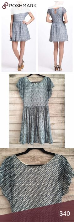 """Anthropologie Blue Frothed Dots Dress By Weston Wear. Fully lined. Tulle in skirt for extra volume. Polyester/spandex blend. Length 36"""" shoulder to hem. Waist 14"""" across with a few inches of stretch. Bust 15"""" across. Excellent condition 🚫NO TRADES/NO MODELING🚫✅BUNDLE TO SAVE✅ Anthropologie Dresses"""