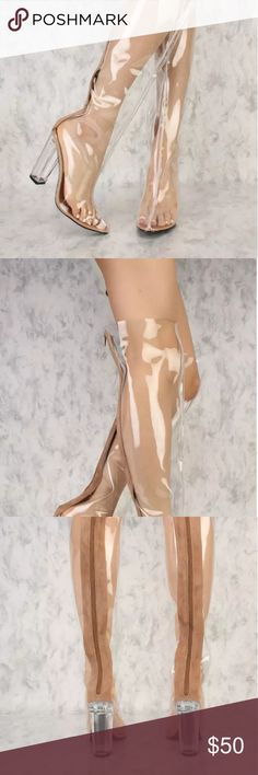 Over the KneePVC Boots Clear with Clear Heels Thigh high clear pvc boots with taupe zipper panel and clear heel. Fits true to size. Shoes Over the Knee Boots