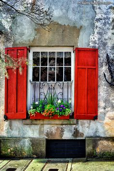 rustic house with red window box and shutters | Charleston, … | Flickr