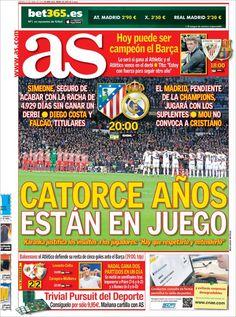 Los Titulares y Portadas de Noticias Destacadas Españolas del 27 de Abril de 2013 del Diario Deportivo AS ¿Que le parecio esta Portada de este Diario Español?