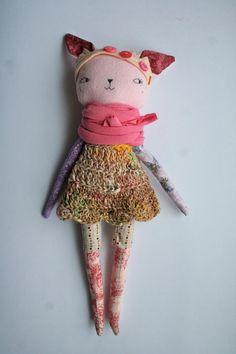 pink Lu cat 13ish rag doll cloth doll pink flannel by humbletoys on etsy