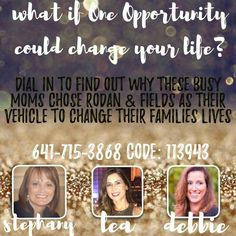 Looking for a change? Take 15 minutes and dial in to this business opportunity call. There are a myriad of different Rodan + Fields success stories -- yours could be next!  Click through for more info!