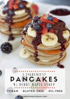 Healthy 3-Ingredient Vegan Pancakes {gluten- & oil-free} sweetsimplevegan.com