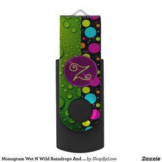 Monogram Wet N Wild Raindrops And Polka Dots Swivel USB 2.0 Flash Drive