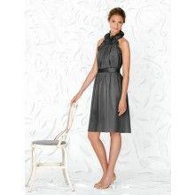 TYAD1361 Crinkle Chiffon Cocktail length Grey Evening Dresses