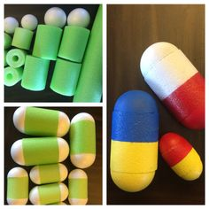 DIY Jumbo, Large Oversized pills for party props/centerpieces! Made from pool noodles and foam balls, a tad of spray paint and voila! Great for Medical School, pharmacy school, nursing school graduation parties! Cosplay (Dr.Mario) costumes etc.!