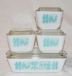 1950's Pyrex Refrigerator Dishes Set of 5 - Amish Butterprint. $90.00, via Etsy.