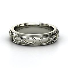 Men's 14K White Gold Ring    Men's Infinity Band   Gemvara