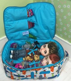 Travel Bag Sleeping Protective For Two Dolls Case Blythe Littlefee Handcrafted Handmade 1/6 Bjd Dal Pullip Plane Blue - https://www.etsy.com/listing/232505940/travel-bag-sleeping-protective-for-two?ref=shop_home_active_2