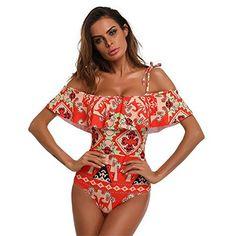 673b4c8146416 Luca Womens One Piece Slash Neck Sling Scollop Swimwear Padded Bikini Beach Bathing  Suit (Red