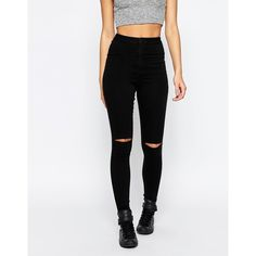 Missguided Vice Highwaisted Busted Knee Skinny Jean (€34) ❤ liked on Polyvore featuring jeans, black, high waisted ripped jeans, denim skinny jeans, distressed skinny jeans, skinny leg jeans and high-waisted jeans