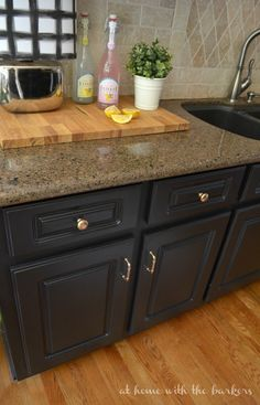 Kitchen Makeover Reveal with Painted Cabinets and planked walls