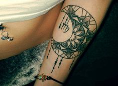 Moon and Virgo Tattoo Design