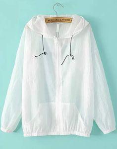 White Sheer Hooded Jacket