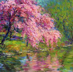 Blossoming Trees relfected in a water impressionistic painting by Svetlana Novikova, copyright Svetlana Novikova.   Prints start at $27