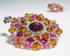 Orecchini tessuti a mano Fucsia e Arancione di jewelrysoutache, €70.00