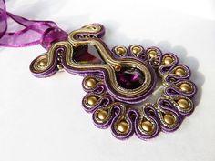 Gold Purple Soutache Pendant Swarovski Amethyst by SoutacheSisters