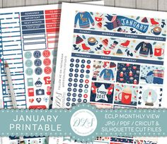 January Stickers, January Planner Monthly Kit, Printable Planner Stickers, Erin Condren January Stickers, New Year Planner, MV116