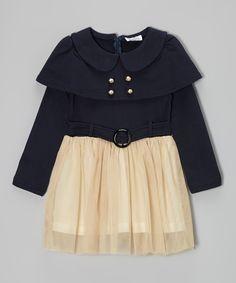 Navy & Cream Belted Dress//