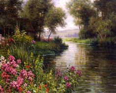 """Louis Aston Knight (1873–1948) was a French-born American artist noted for his paintings of landscapes. Aston Knight, the son of Daniel Ridgway Knight and Rebecca Morris Webster Knight, was born in Paris in 1873. He was raised in Europe and received his early training with his father. He later continued his studies with Tony Robert-Fleury and Jules Lefebvre. (Wikipedia) (""""Fleur au bord de la Riviere"""" by Louis Knight)"""