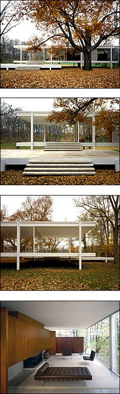 "Farnsworth House by Ludwig Mies van der Rohe - Plano, Illinois, USA Dès 1925 ""le style international"" dont le purisme de Mies van der Rohe."