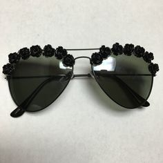 Los Angeles Black Flower Sunglasses Festival by Obsessed Shades