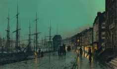 "John Atkinson Grimshaw ""Shipping On The Clyde"" ,style: Impressionism"