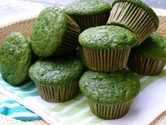 Green Muffins Recipe -- Perfect for St. Patrick's Day! Made with whole grain flour, maple syrup and spinach!