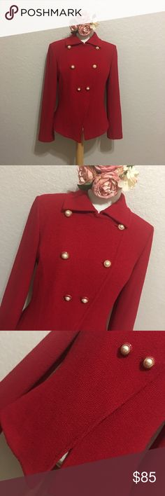 """St. John Blazer Beautiful Blazer in color red ! In GOOD CONDITION NO STAINS NO HOLES! Measurements are Bust 18"""" Length 23"""" St. John Jackets & Coats Blazers"""