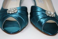 Sale Wedding Shoes  Teal Shoes  Short Heel  Bridal by Londonxox, $50.00