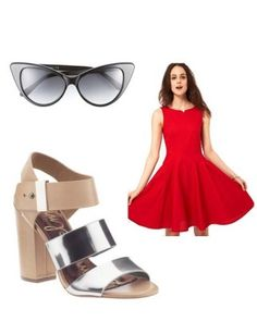 """Pairing an Old Hollywood-style red dress with a slightly unpredictable, eye-catching shoe makes it way more modern.  50S SUN DRESS, $286.48, BOUTIQUE BY JAEGER, ASOS.COM; CAT EYE SUNGLASSES, $360, TOM FORD, NORDSTROM.COM; """"YELENA"""" SANDAL, $140, SAM EDELMAN, PIPERLIME.COM"""