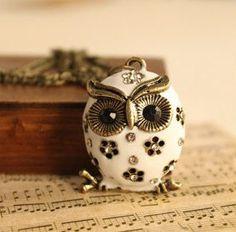 Antique Bronze White Owl Necklace. $8.00, via Etsy.