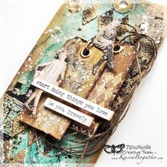 created by Kasia Bogatko: Stay Curious - mixed media tags with video tutorial Mixed Media Tutorials, Mixed Media Techniques, Art Journal Techniques, Mixed Media Cards Ideas, Finnabair Mixed Media, Timmy Time, Mixed Media Scrapbooking, Handmade Tags, Mixed Media Collage