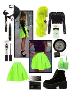 """Neon green Skirt"" by gothgirl87454 ❤ liked on Polyvore featuring Miss Selfridge, Manic Panic NYC, Essie, Dolce&Gabbana, Burberry, Lipstick Queen and Eyeko"