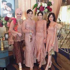 Image may contain: 7 people, people standing Dress Brukat, Hijab Dress Party, Batik Dress, Lace Dress, Kebaya Lace, Kebaya Dress, Dress Pesta, Kebaya Brokat, Batik Kebaya