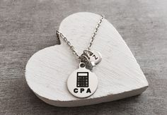Certified public, accountant, CPA Gift, ACA, Silver Jewelry, Accountant, Calculator charm, Grad, Graduation, Silver Necklace, Charm Necklace by SAjolie, $22.95 USD