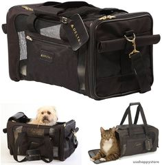 Pet Carrier Bag Airline Approved Cat Small Dog Case Travel Shoulder Strap Tole #Sherpa