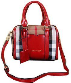 a05396c00cf BurBerry Small House Check Bowling Bag BU38008 Red Designer Clutch