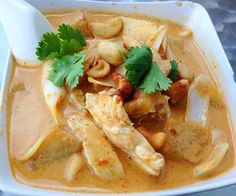 A fragrant mild Thai curry with coconut milk, onions, potatoes and peanuts or cashews For non-meat eaters - vegetables, tofu or plant protein can be substituted in most recipes. Adjust cooking times a
