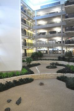 The 200,000 square-foot, seven-story Theory and Computing Sciences Building features a zen garden.