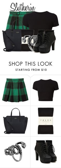 """Slytherin from Harry Potter"" by ginger-coloured ❤ liked on Polyvore featuring Sea, New York, Getting Back To Square One, Kate Spade, Falke and Represent"