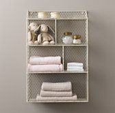 RH Baby & Child's Vintage Wire Cubby Shelf - White:Our petite wall-mounted wire cubbies perch happily over changing tables, craft tables, bookshelves and more, always ready to tackle a storage challenge.
