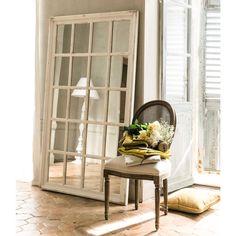Espejo ventana con marco de madera blanca Al. 175cm MARTIN | Maisons du Monde