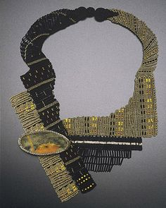 Necklace | Sandy Swirnoff.  Silk and Nylon Fiber, Daum glass shard (19C), Vintage and Japanese seed beads