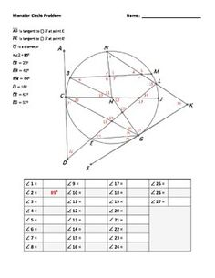 27 questions all stuffed in to the same circle gives students a real challenge.  This puzzle is great for any high school geometry lesson on circles.  It contains angles with their vertex in the circle, on the circle, and outside of the circle.  These angles are all made using diameters, chords, secants and tangents.